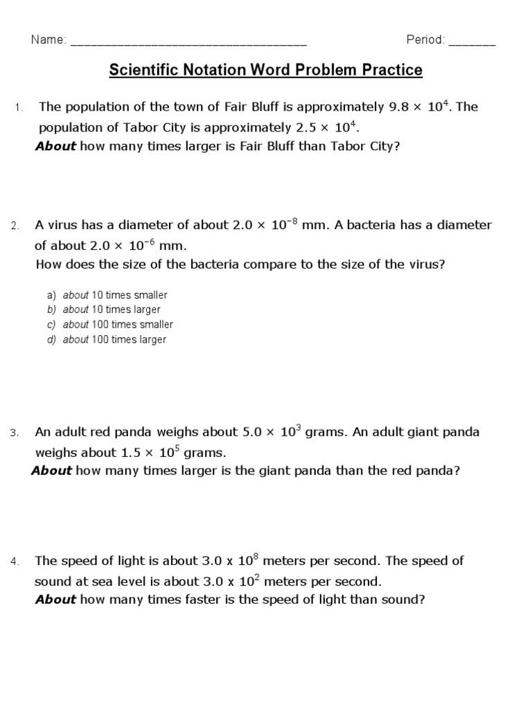 scientific notation word problems gc practice