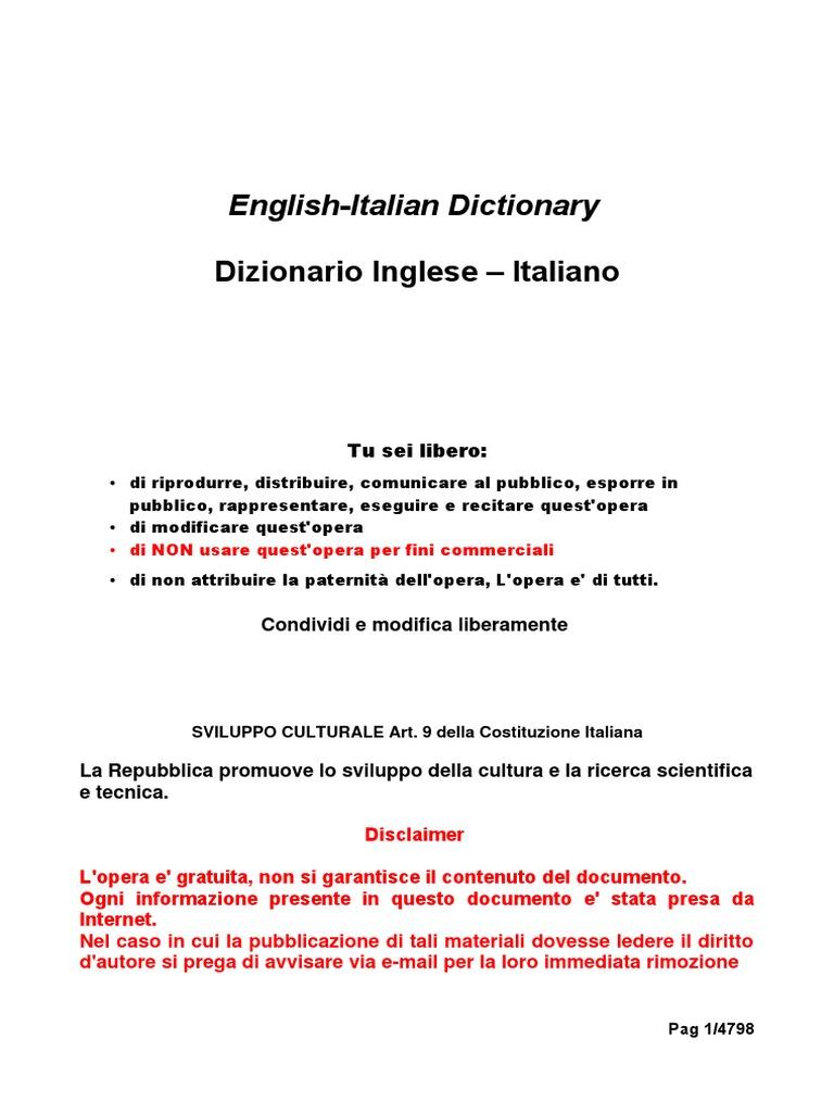 Dizionario Italiano Inglese Dictionary English Italian FREE