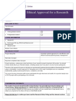 UoEO Application for Ethical Approval for a Research Project