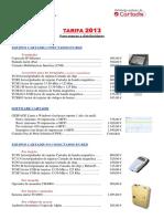 Tarifa 2013 Para Marcas y Distribuidores