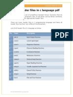 C Langugage Header File List PDF
