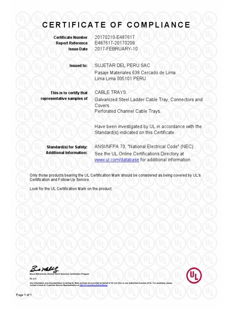 Certificacion Ul Sujetar