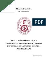 Memoria Estructuras Gimnasio I ETAPA - IO