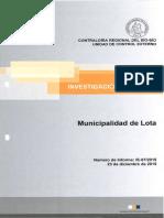 Informe Investigación Especial 67 - 15 Municipalidad de Lota Sobre Presuntas Irregularidades - Diciembre 2015