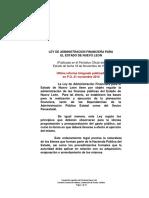 Ley de Administracion Financiera Para El Estado de Nuevo Leon