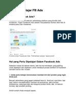 Memulai Belajar FB Ads