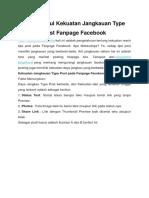Mengetahui Kekuatan Jangkauan Type Post Fanpage Facebook