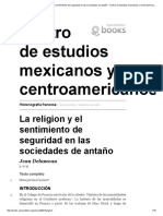 Historiografía Francesa - La Religion y El Sentimiento de Seguridad en Las Sociedades de Antaño - Centro de Estudios Mexicanos y Centroamericanos