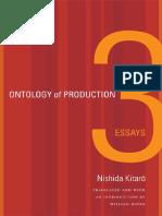 Nishida Kitaro Ontology of Production Three Essays