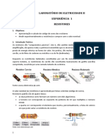 Experiência 1 Ele2 17.1 Resistores