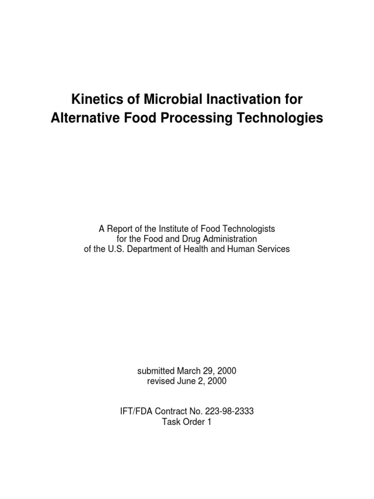 Kinetics of Microbial Inactiviation for Alternative Food Processing ...