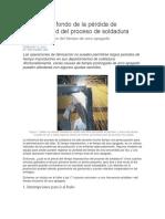 Llegando Al Fondo de La Pérdida de Productividad Del Proceso de Soldadura