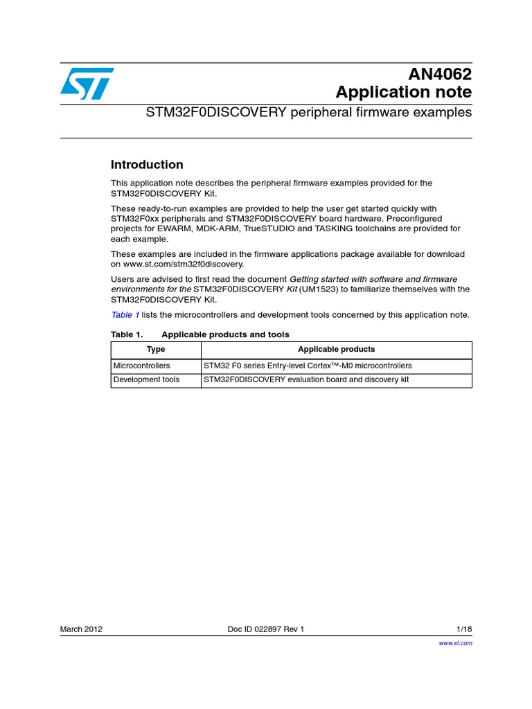 AN4062 STM32F0DISCOVERY Peripheral Firmware Examples