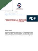 Proyectos Educativo  y proyecto curricular lectura complementaria n°3.