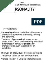 Unit 7 Personality