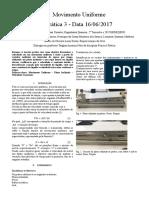 Relatório de física prática movimento uniforme