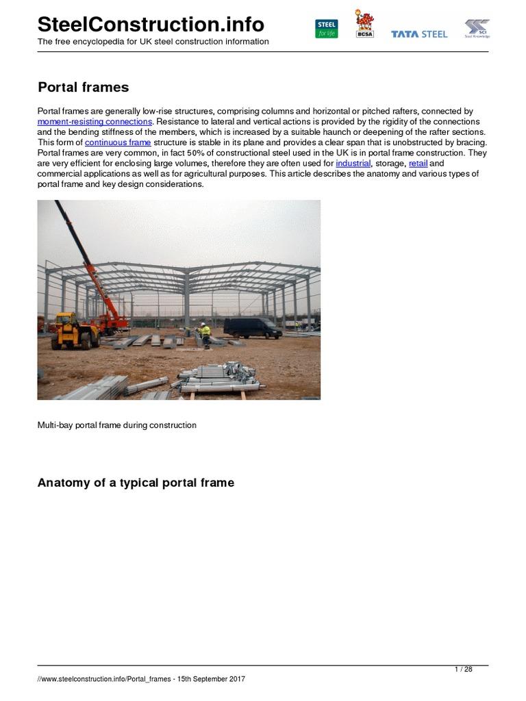 Portal frames.pdf | Framing (Construction) | Bending
