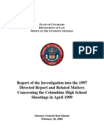 Report of the Investigation into the 1997 Directed Report and Related Matters Concerning the Columbine High School Shootings in April 1999