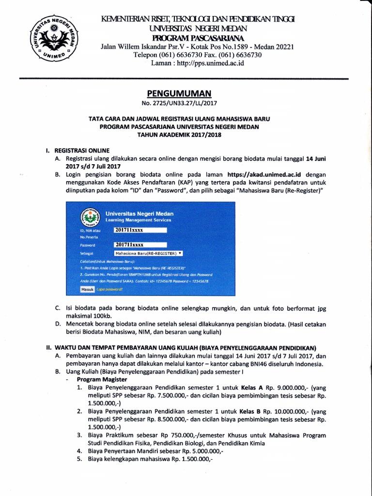 Jadwal Dan Tata Cara Registrasi Ulang 2017
