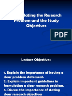 Formulating the Research Problem and the Study Objectives