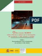 Orden Circular 26-2015 sobre criterios a aplicar en la iluminación de carreteras a cielo abierto y túneles