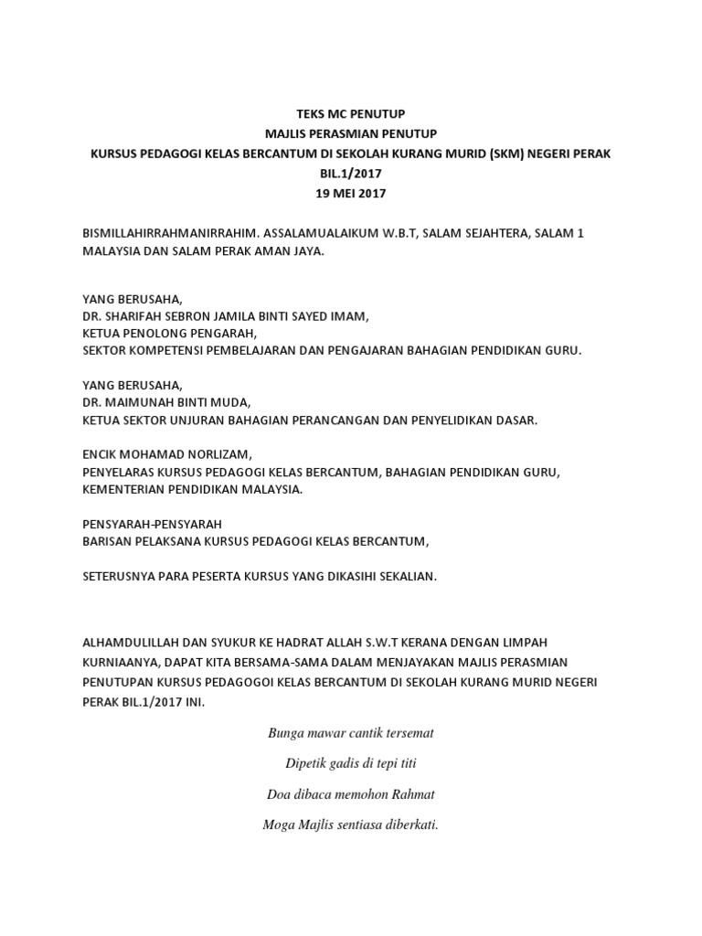 Teks Pengacara Majlis Penutupan