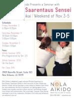 Miranda Saarentaus Sensei at NOLA Aikido November 2017 Flyer