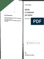 1988. Matheron, A. Individu Et Communaute Chez Spinoza