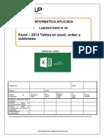 Lab-08-Excel-2013-Tablas en Excel, Orden y Subtotales