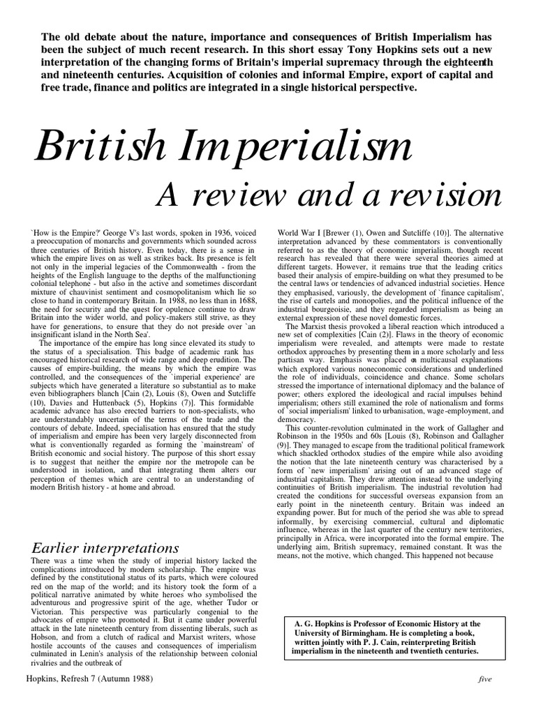 various forms of imperialism and bristish