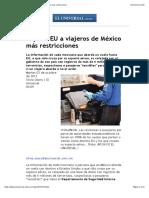 impone EU a viajeros de México más restricciones