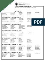 October 7, 2017 Yahrzeit List