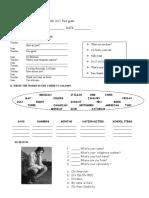Examen Diagnostico Ingles 1 y 2