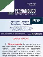 Gêneros Textuais Carta Ao Leitor, Crítica, Editorial, Entrevista