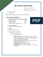Ejemplos de objetos de estructura de datos y el tipo de dato