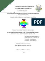 EMPRENDIMIENTO PRODUCTIVO. PROYECTO PLANTA PROCESADORA DE YOGURT DE TARWI. Labriano Paredes Gutierrez.proyectos