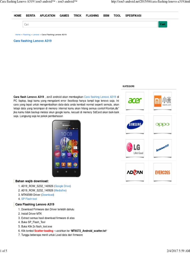 Madison : Lenovo a319 firmware sd card download