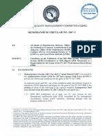 Gqmc Memorandum Circular No. 2017-1 Dated June 23, 2017