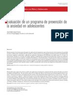 Evaluación de un programa de prevención de la ansiedad en adolescentes
