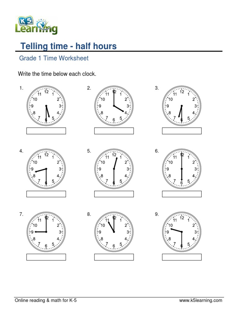 Workbooks time to hour and half hour worksheets : Workbooks » Hour Worksheets - Free Printable Worksheets for Pre ...