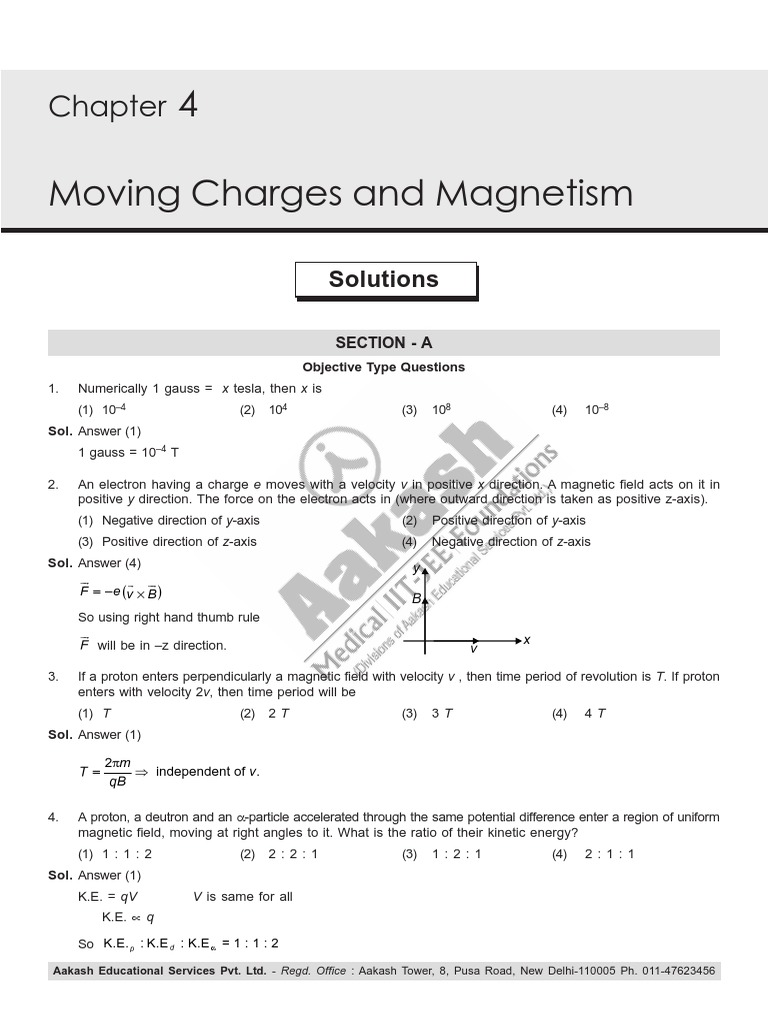CLS Aipmt 17 18 XII Phy Study Package 6 SET 2 Chapter 4 | Magnetic ...