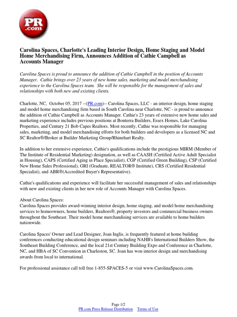 Carolina Spaces Charlottes Leading Interior Design Home Staging And Model Merchandising Firm Announces Addition Of Cathie Campbell As Accounts