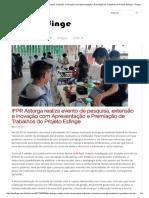 IFPR Astorga Realiza Evento de Pesquisa, Extensão e Inovação Com Apresentação e Premiação de Trabalhos Do Projeto Esfinge – Projeto Esfinge
