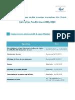 Calendrier Academique 2015-2016