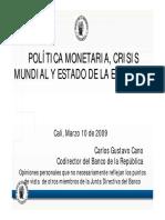 C G Cano Politica Monetaria Crisis Mundial