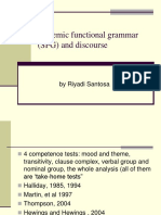 Systemic Functional Grammar Sfg and Discourse