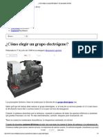 ¿Cómo elegir un grupo electrógeno__ los principales factores
