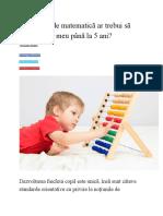 Ce Noţiuni de Matematică Ar Trebui Să Aibă Copilul Meu Până La 5 Ani