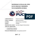 Laboratorio Metalurgia extractiva - proceso de calcinacion