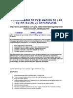 Cuestionario de Evaluación de Las Estrategias de Aprendizaje